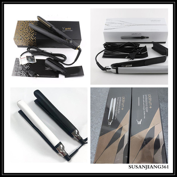 best selling STOCK EU US AU UK PLATINUM + Hair Straighteners Professional Styler Flat Hair Iron Straightener Hair Styling Tool Good Quality V Gold Max