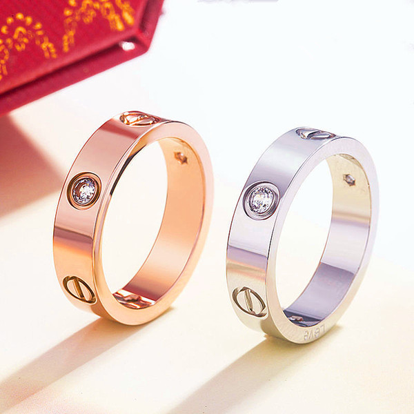 top popular Titanium Stainless Steel Love Rings for Women Men jewelry Couples Cubic Zirconia Wedding Rings Logo Bague Femme Jewelry 6mm 2021