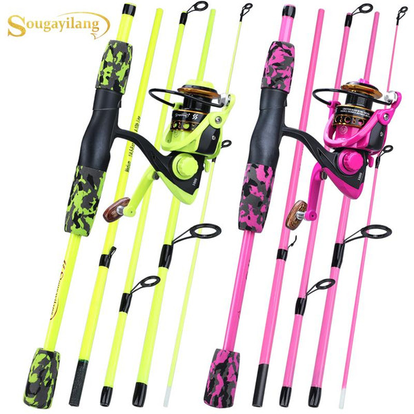 top popular Sougayilang 5 Section Red Yellow Fishing Set 170cm Fishing Rod and YW OE1000-3000 Spinning Reel Portable Travel Combo 2021