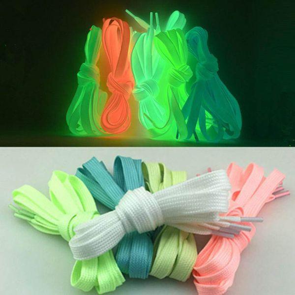 best selling Sneakers Men's and Women's Luminous Shoelace Ribbon Black Fluorescent Shoelaces Canvas Shoes 1 Pair DHL Delivery