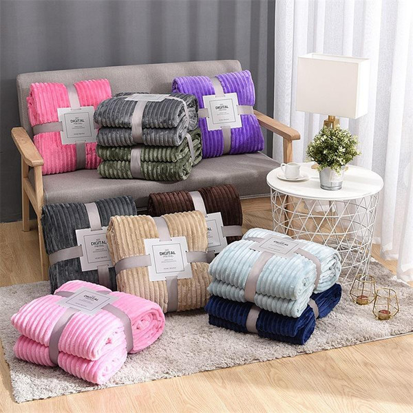 best selling Solid Striped Throw Blanket Flannel Fleece Super Soft Blankets Winter Warm Fluffy Bed Linen Bedspread For Sofa Bedroom Decor Home Textiles