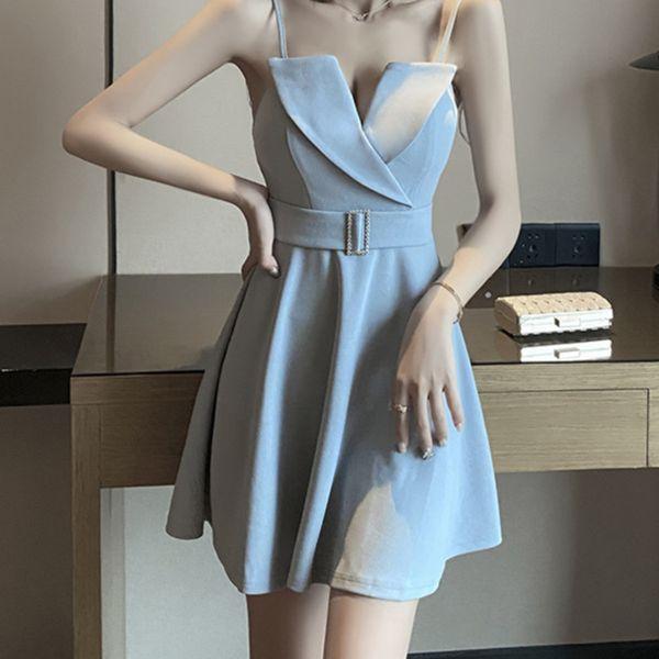 Sexy Deep V Neck Spaghetti Strap Backless Sleeveless Cocktail Dress Elegant Party Vestidos Short Cocktail Dress