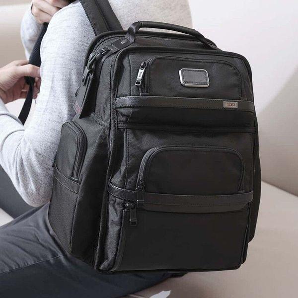top popular Tumi tumin alpha 3 Series ballistic nylon men's black business backpack computer bag backpack 2021