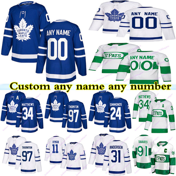 top popular Custom Toronto maple leafs jerseys 91 Tavares 34 Matthews 16 Marne 97 Thornton 24 Simmonds any name any number hockey jersey 2021