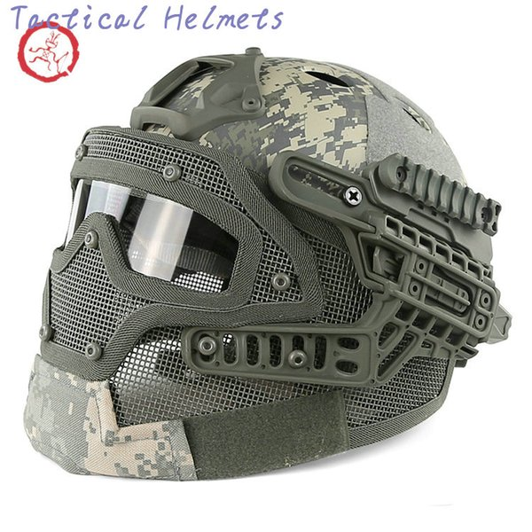 best selling Fast PJ helmet face mask integrated tactical helmet headgear type protective outdoor riding COMBAT helmet ABS + EPS HT015 TETH0012