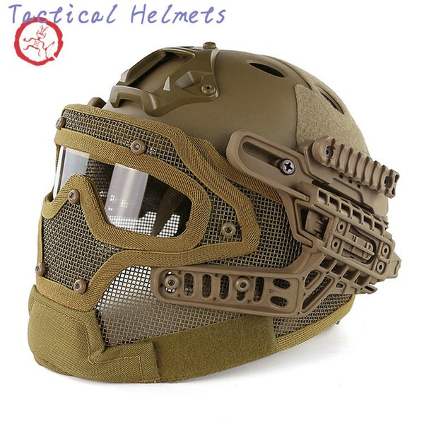 best selling Fast PJ helmet face mask integrated tactical helmet headgear type protective outdoor riding COMBAT helmet ABS + EPS HT015 TETH005