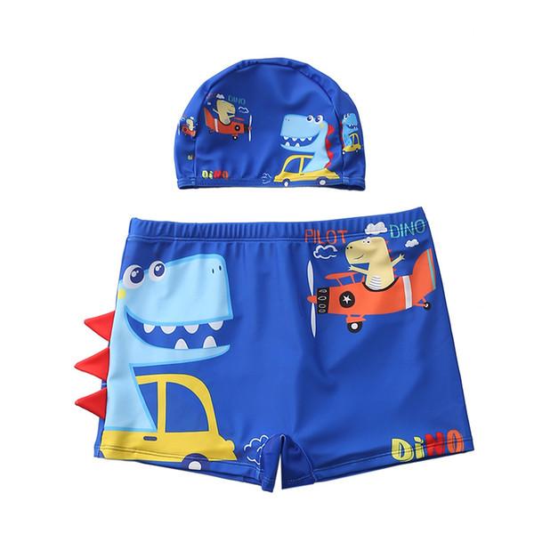 top popular 29 styles NEW Boys Swimming Trunks 2-10 Years Children's Swimwear Kids Swimsuit Dinasour Boys Swimwear Trunks with Hat 2021