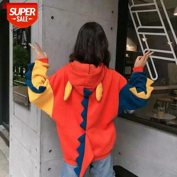 top popular Dinosaur cartoon oversized hoodie women Fashion Women Sweatshirt Casual Print Korean style clothes for Sweatshirt Tops #Br92 2021