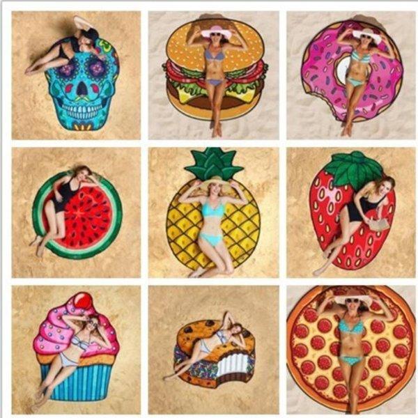 Summer Fruit Beach Towel Pizza Burger Skull Ice Cream Strawberry Round Beach Bath Towel Cushion Floor Mat Swimsuit Wrap Towel Shawl
