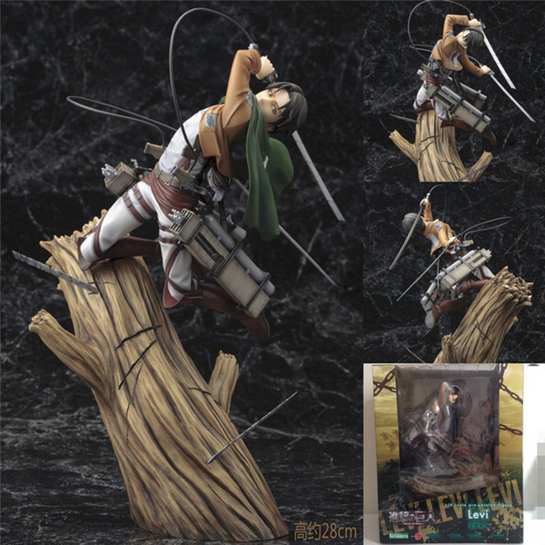 top popular 25cm Action Figure Attack On Titan Rivuai Doll Levi PVC ACGN figure Garage Kit Toys Brinquedos Anime Toy Doll Christmas Gift L0226 2021