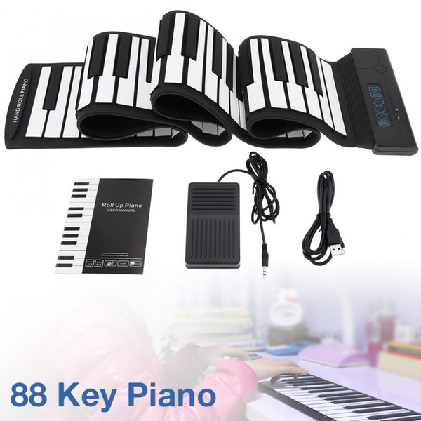 top popular 88 Keys USB MIDI Output Roll Up Piano Rechargeable Electronic Portable Silicone Flexible Keyboard Organ with Sustain Pedal 2021