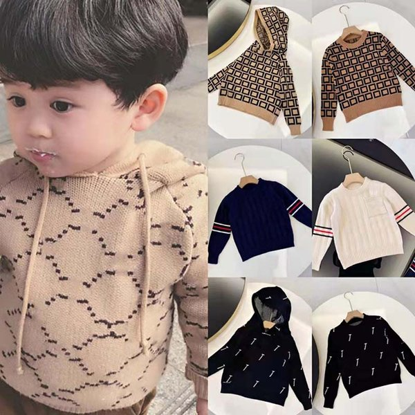 best selling Kids Sweater Girls Boy Fashion Pullover Knitted Sweatshirts Letter Hooded Sweaters Baby Child Casual Warm Winter Top 8 Styles Size 90-140