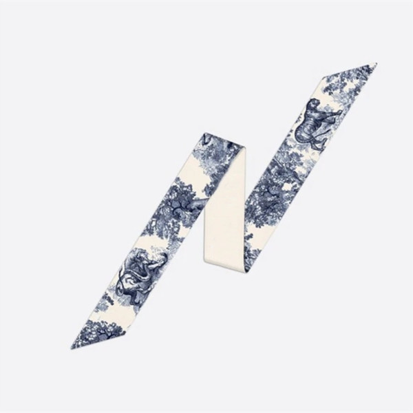 top popular 2021 D Designers Silk Scarf Mitzah 100% Natural Silk Scarf Fashion Headband Luxury Brands Women Silk Scraves Muffler Hair Bands 105*6cm 2021