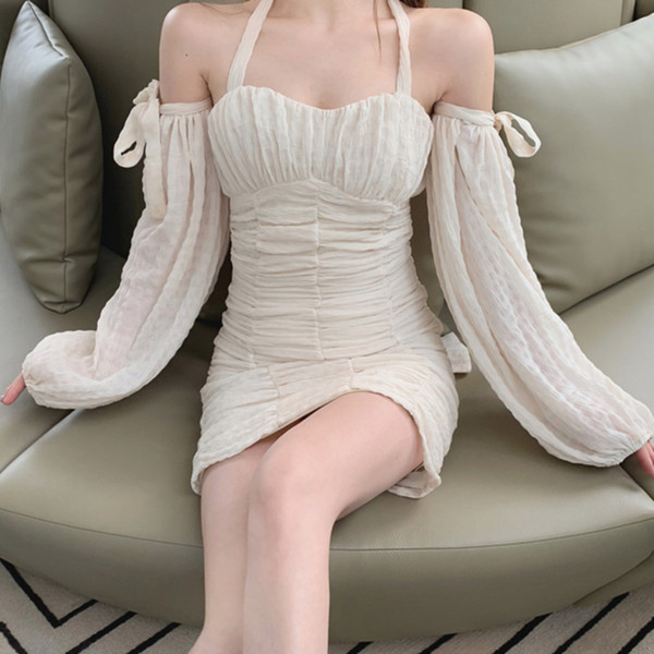 Sexy Off Shoulder Puff Long Sleeve Cocktail Dress Pleated Ruched Women Short Party Dress Robes De Cocktail