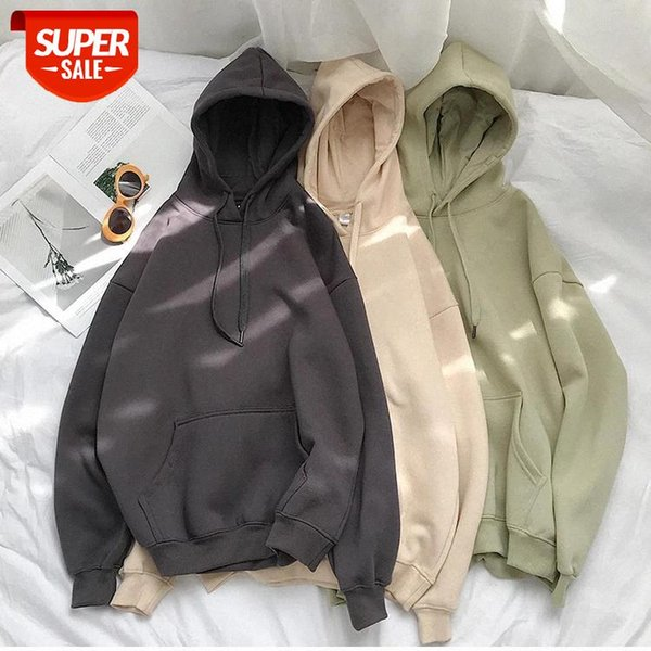 top popular Cotton 12 Colors Sweatshirt oversized Women clothes Solid Hooded Female 2020 Thicken Warm Hoodies Lady Fashion Tops Korean style #ro1C 2021