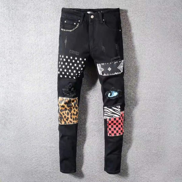 top popular 2021 Tide Brand Motorcycle Jeans Light Color Embroidered Stretch Skinny Ripped Pants High-end Quality Black Patch Print 2021