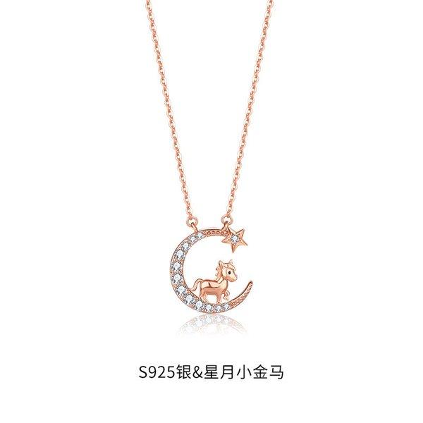 Collier de cheval zodiaque chinois-925 argent