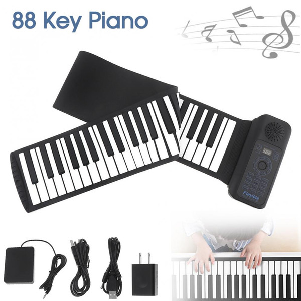 best selling Portable 88 Keys USB MIDI Roll Up Piano Electronic Piano Silicone Flexible Keyboard Organ Built-in Speaker with Sustain Pedal