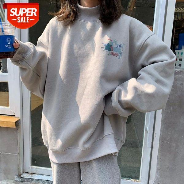 top popular Oversized Velvet Warm Hoodies Women's clothes tops harajuku Printed Turtleneck Kawaii Simple Pullover Korean Style sweatshirt #XE1t 2021