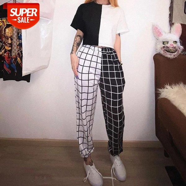 best selling black white Sport Pants Elasticity Sportpants Top summer Contrast Cargo Pant For Women Loose Hight Waist Plaid Jogging Trouser #YL0F