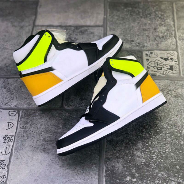 best selling 1 High OG VoltGold 1S men basketball shoes Fluorescent yellow black toe mens sports sneakers women trainers