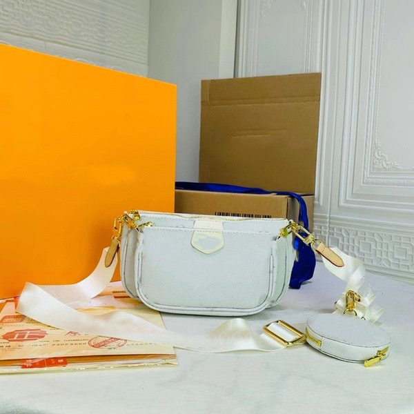 best selling Summer 2021 High Quality classic white color Women bag 3 pcs in one lady fashion handbag ladies handbags cross body wallet shoulder bags purse 18886