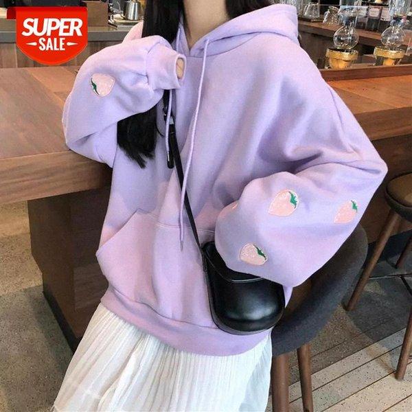 best selling Strawberry Embroidery Lavender Oversized women Hoodies Harajuku Pink Sweatshirt Women Kawaii Loose Long Sleeves Tops women cloth #iI9m