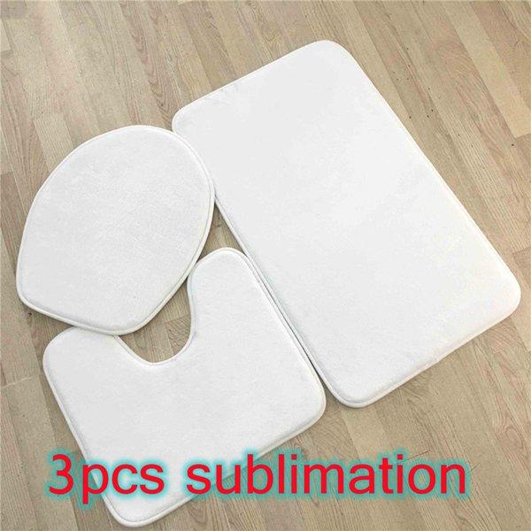 best selling 3pcs Sublimation Bath Rugs Set Anti-Slip Bath Mat Toilet Cover U-Shaped Toilet Mat Lid Cover Absorbent Bath Rugs Contour Mat By Ocean A15