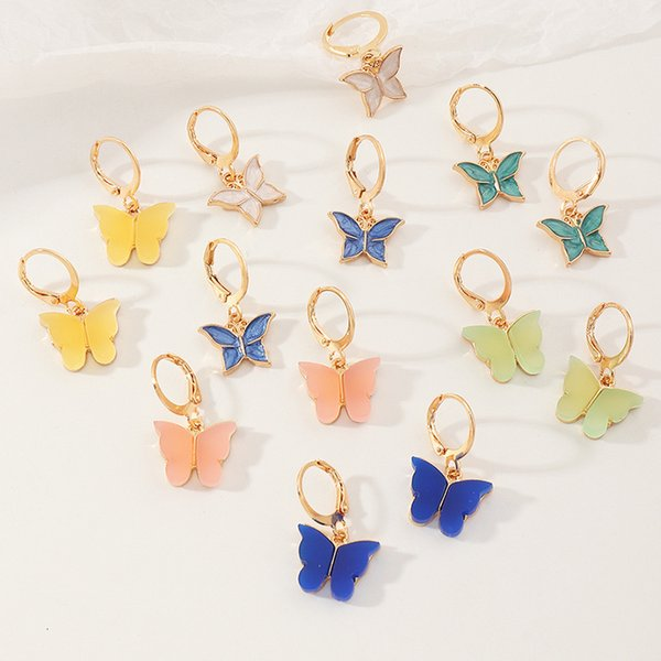 Ez3385 fashion accessories small fresh simple acrylic Butterfly Earrings Follow the feeling and choose what you like at first sight.