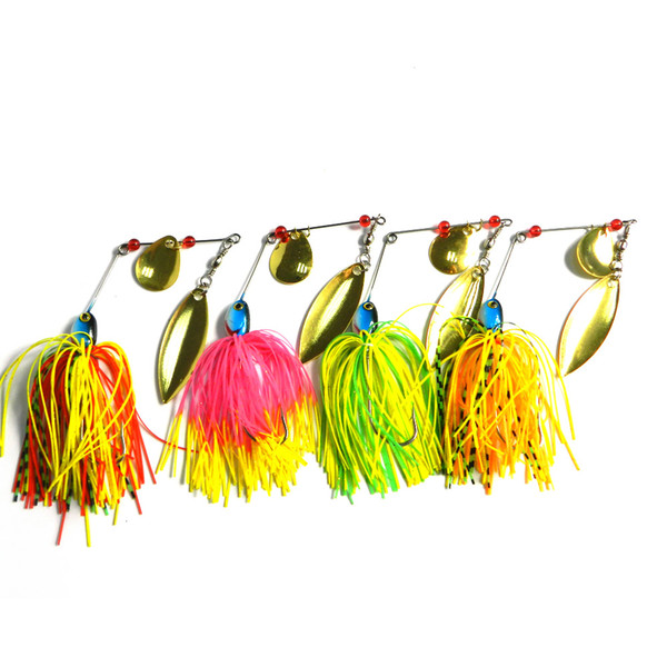 top popular HENGJIA Spoon Spinnerbait Buzzbait Sequins Metal Fishing Lure Beard 40PCS LOT 17G with Skirt Feather for bionic 2021