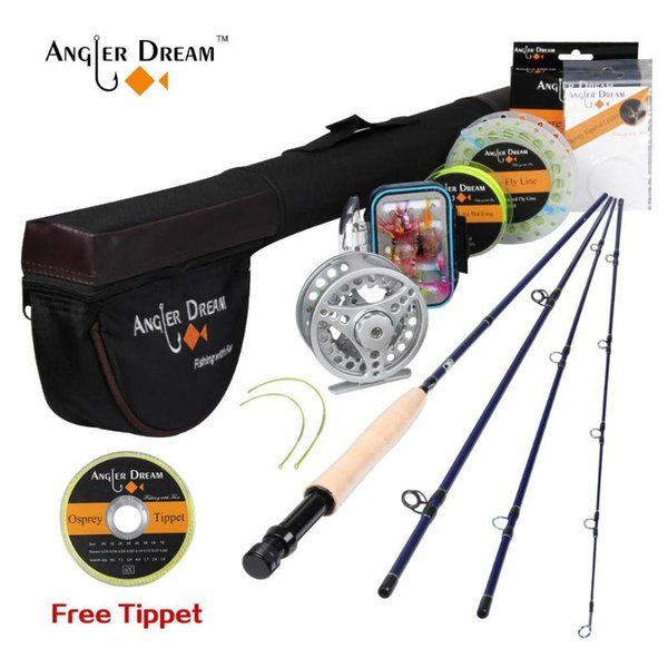 best selling Rod Reel Combo Angler Dream Honor 3 4# 2.4M Fishing Rod+Reel+Rod Bag+ Flies Box Lure Tackle Set For Trout