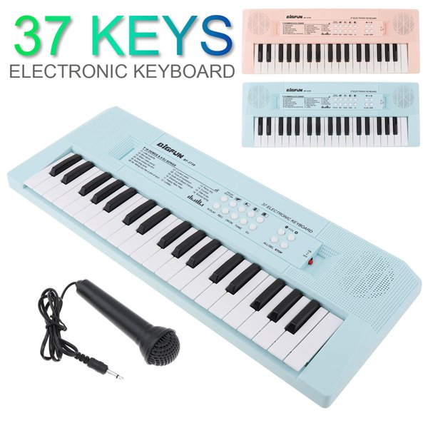 best selling 37 Keys Electronic Keyboard Piano Digital Music Key Board with Microphone Musical Enlightenment Pink and Blue 2 Colors Optional