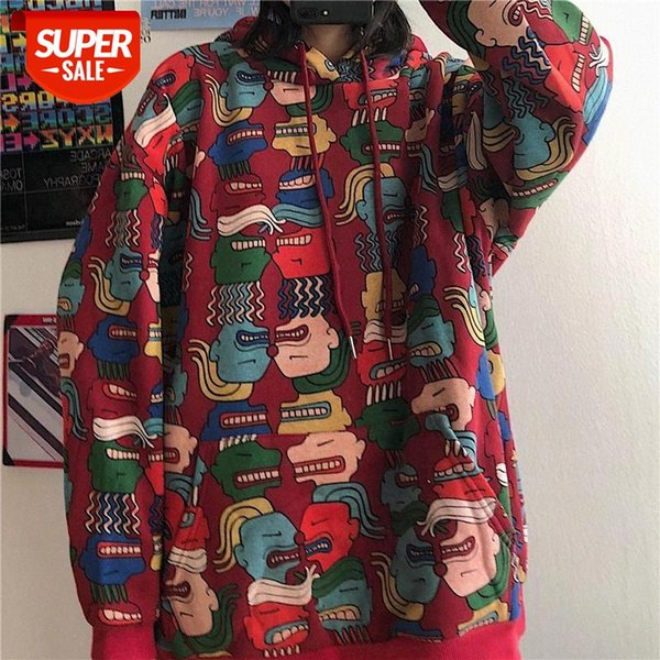 top popular Harajuku Women Hoodies Pullovers Oversized Print Sweatshirt Korean style Hood Hooded Women's tops Loose Coat Streetwear clothes #jO13 2021