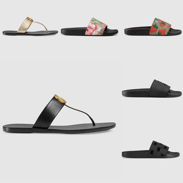 top popular Slipper Designer Slide Summer sandals Fashion Men Beach Indoor Flat Flip Flops Leather Lady Women Shoes Ladies Slippers Size 35-45 with box 2021