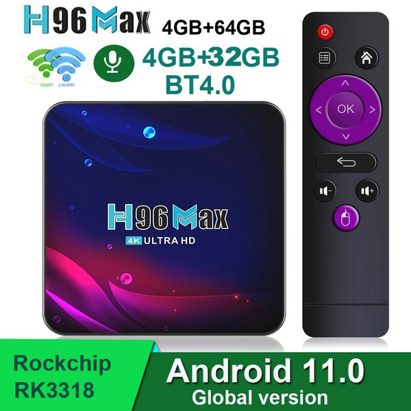 top popular H96 Max V11 Android 11.0 TV Box 4GB 32GB 64GB 2GB 16GB Rockchip RK3318 4k 2.4G 5G wifi BT4.0 media player 2021