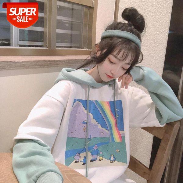 best selling oversized Hoodies Women Printed Patchwork Hoody Simple Thicker Loose Simple Korean Style Drawstring Womens Streetwear Hoodie #ZH8C