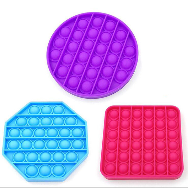 top popular Soft Silicone Push Bubble Pop Bubble Fidget Sensory Toy Autism Special Needs Stress Reliever Games Square Round Silicone Game 2021