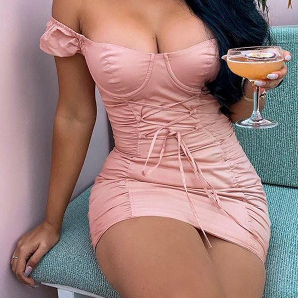 Off Shoulder Pleated Sexy Women Cocktail Dress Fashion Ladies Backless Lace Up Ruched Party Dress Robe De Cocktail
