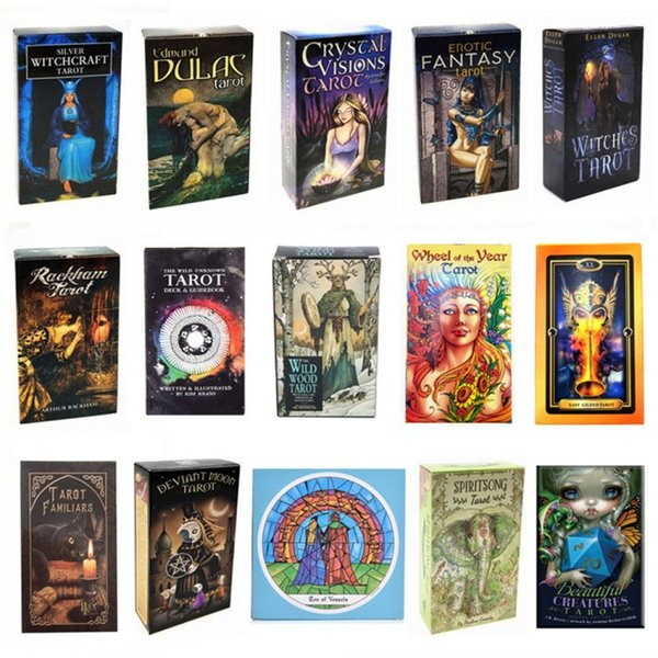best selling 15 Styles Tarots Witch Rider Smith Waite Shadowscapes Wild Tarot Deck Board Game Cards with Colorful Box English Version FY4449