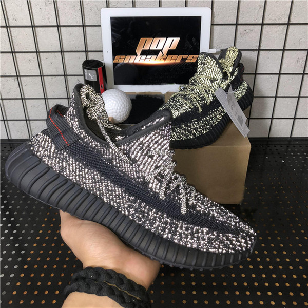 top popular Top Quality Kanye West Men Women Running Shoes Cinder Zebra Tail Light Reflective Israfil Carbon Linen Abez Women Sneakers With Box 2021