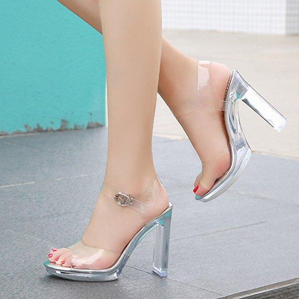 Women PVC Transparent Shoes Women Sandals Sandals Open Toe High Heels Summer Women Shoes Buckle Pump Ankle StrapDress Shoes