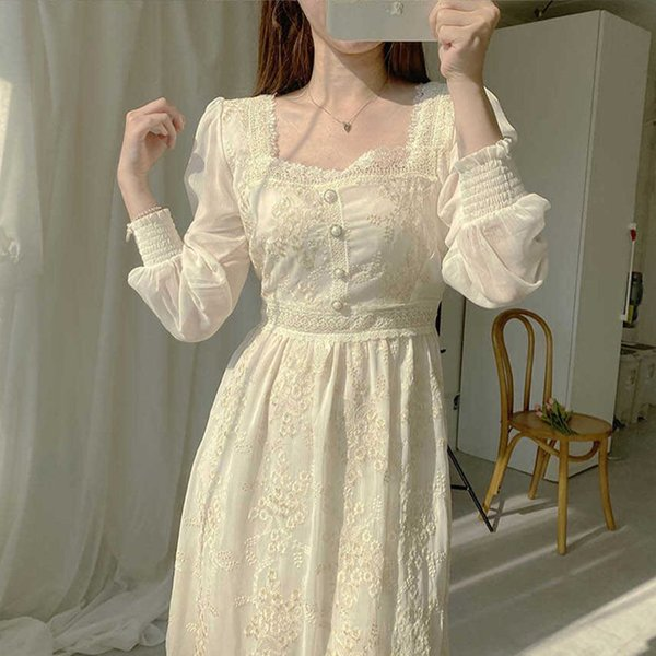 Lace Woman Dress Korean Style Chic Casual Long Sleeve Hook Flower Clothing High Waist 2021 Fashion New Dresses Mid-Calf Apparel Womens Clothing Dresses Casual Dresses Party Dresses Runway Dresses Street Style Dresses Work Dresses