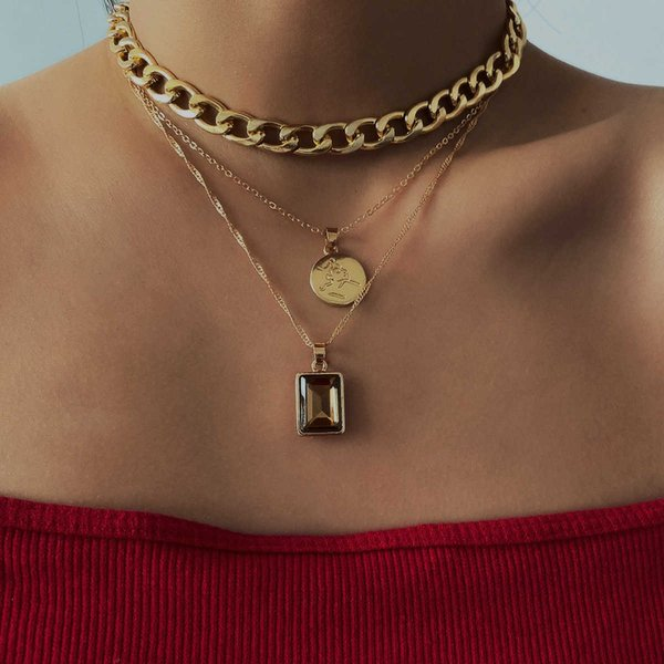 Jewelry mix and match hollow thick chain suit personalized portrait outline square Necklace Follow the feeling and choose what you like at first sight.
