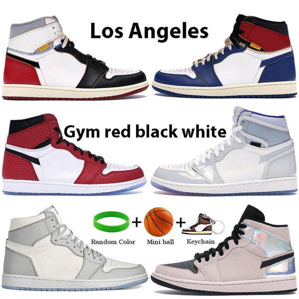 Gym red Los Angeles Black Blue Toe white 1s Bbasketball shoes 1 High zoom white racer blue fearless black Running Sneakers
