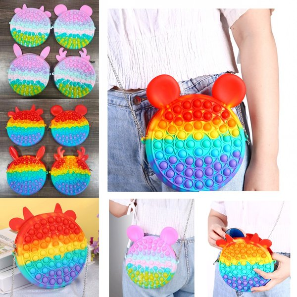 best selling Cute Bag Fidget Toys Reliver Stress Rainbow Macaron Backpack Push Bubbles Simpl Dimmer Sensory Gifts
