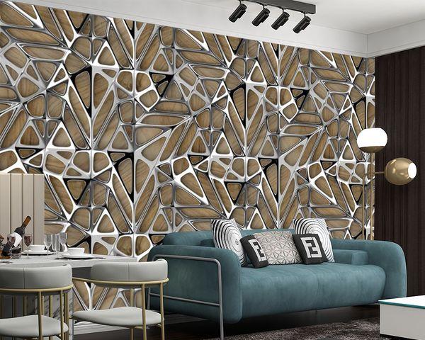 top popular Custom 3D Wallpaper Living Room Bedroom Kitchen Silk Irregular Geometric Metal Art Home Improvement Painting Classic Mural 2021