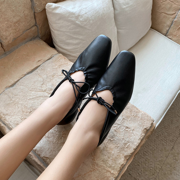 Womens genuine leather pleated lace-up slip-on ballet flats leisure soft comfortable espadrilles casual ballerinas daily shoesDress Shoes