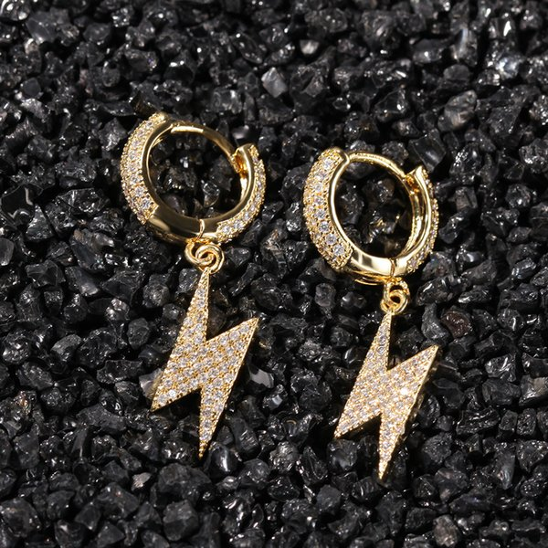 best selling Mens Gold Lightning Earrings New Fashion Hip Hop Earrings Jewelry Womens Silver Lightning Dangle Hoop Earrings