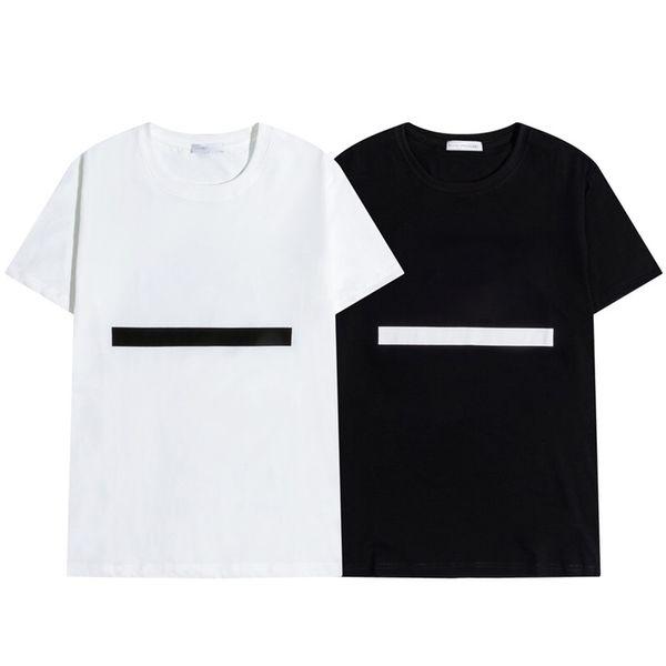 best selling 2021 Mens t shirt Letter Stripe Printing Round Neck Short Sleeve Fashion Hobby Designer Black and White M-2XL
