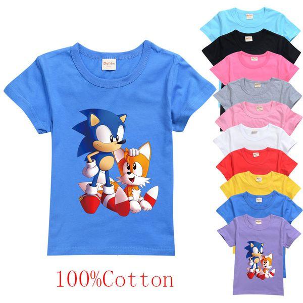 top popular 2021 Cartoon Sonic The Hedgehog T Kids Funny Shirt Short Sleeve 100% Cotton Tee Boys Clothes Girls Casual Summer Tops 2-16 2021
